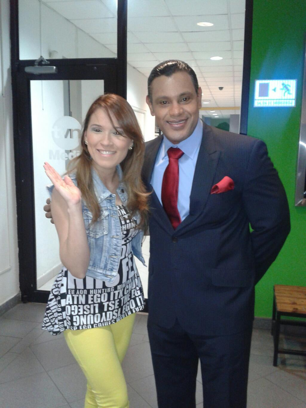 Nairobi Dacosta with Sammy Sosa In Panama TV Studios