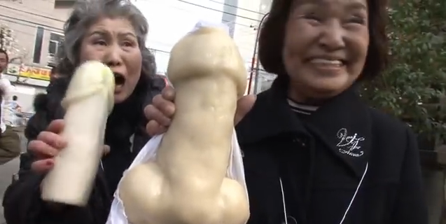 Elderly Japanese women at the penis festival