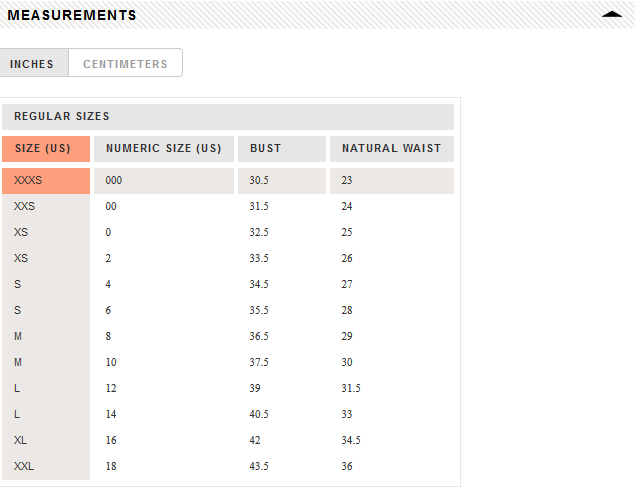 J. Crew measurement sizes