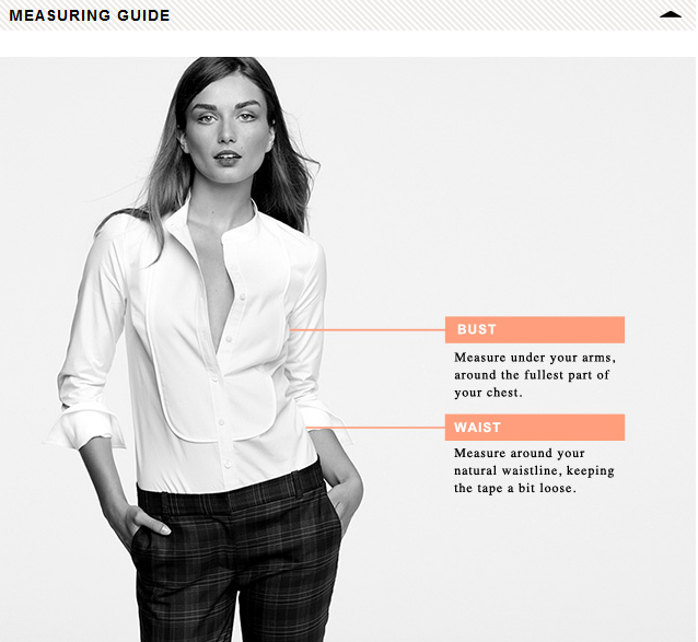 J. Crew's measuring guide