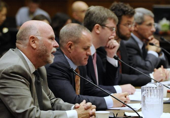 Dr. Craig Venter (FROM L-R) of the J. Craig Venter Institute testifies with Jay Keasling of Lawrence Berkeley National Laboratory, Drew Endy of Stanford University, Gregory Kaebnick of The Hastings Center, and Anthony Fauci, Director, National Institute o