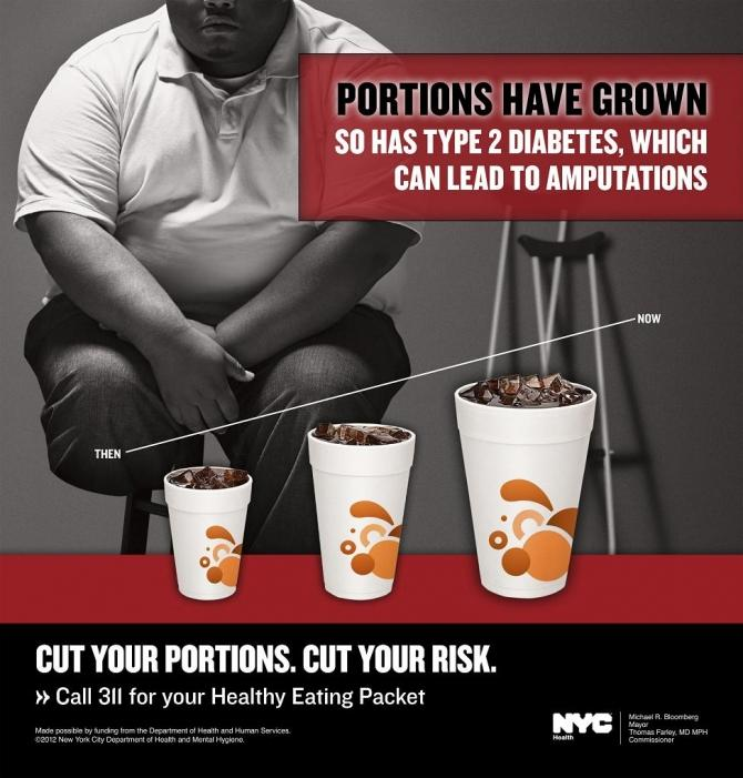 Advertisement to fight obesity created on behalf of the New York City Department of Health