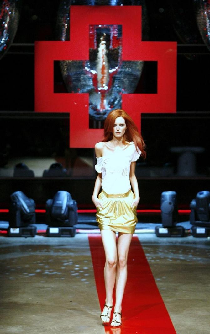A stick-thin model wearing a design by Australian label 'FashionAssassin' walks down the catwalk during a show at Australian Fashion Week in Sydney May 1, 2007.