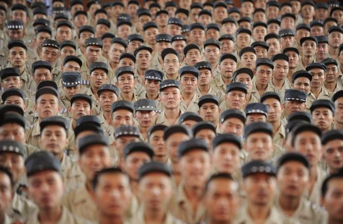 Inmates listen to a speech at Taiyuan No.1 prison in Taiyuan, Shanxi province in China.