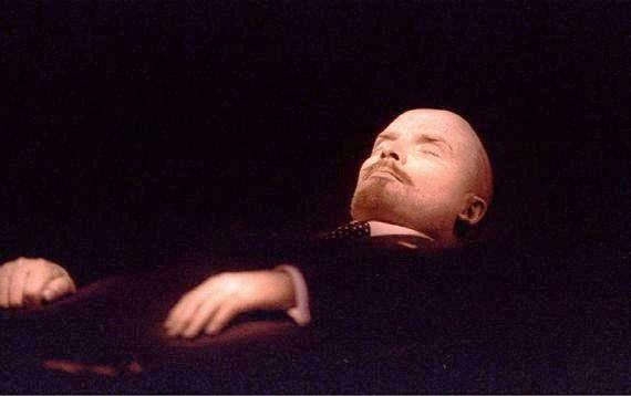 The body of Vladimir Lenin , the Soviet state founder lies in the Mausoleum of Lenin on Red Square. Doctors say , the founder of Russian communism, may have died because of stress, family medical history or of poison given to him by his political success