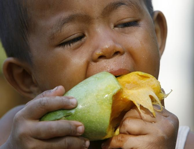 A boy eats a mango in Nakhonsawan province, north of Bangkok