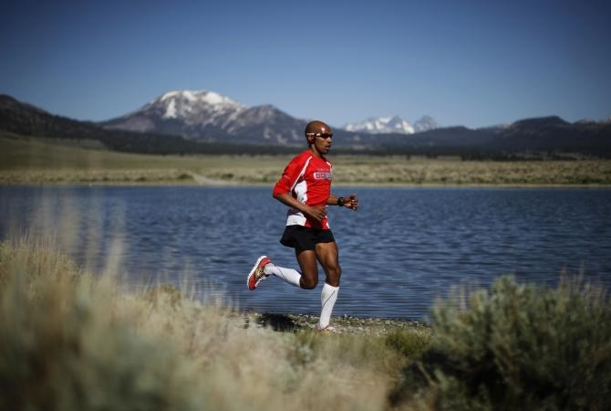 U.S. marathon runner Keflezighi trains for the London 2012 Olympics in Mammoth Lakes, California