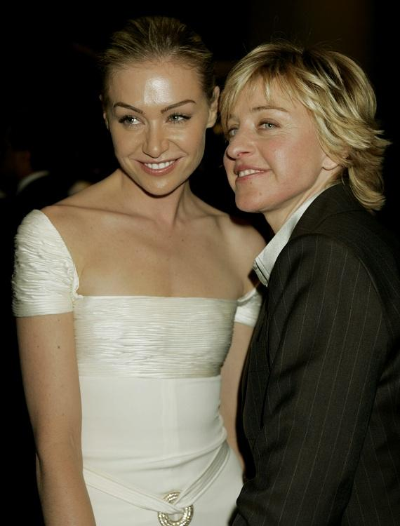 Talk show host Ellen DeGeneres (R) and her wife Portia DeRossi pose as they move from one party to another after the 62nd annual Golden Globe Awards in Beverly Hills, California January 16, 2005.