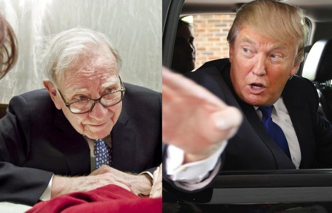 Warren Buffet (L) is known to be one of the world's most philanthropic billionaires whereas Donald Trump (R) is known to be notoriously stingy.