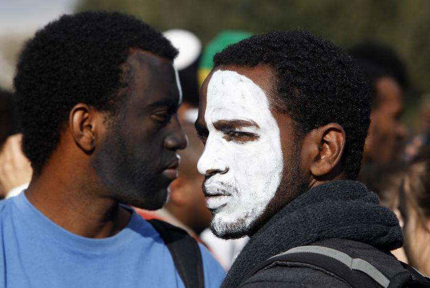 Protest of the discrimination against Israelis of Ethiopian descent, in Jerusalem, January 18, 2012.