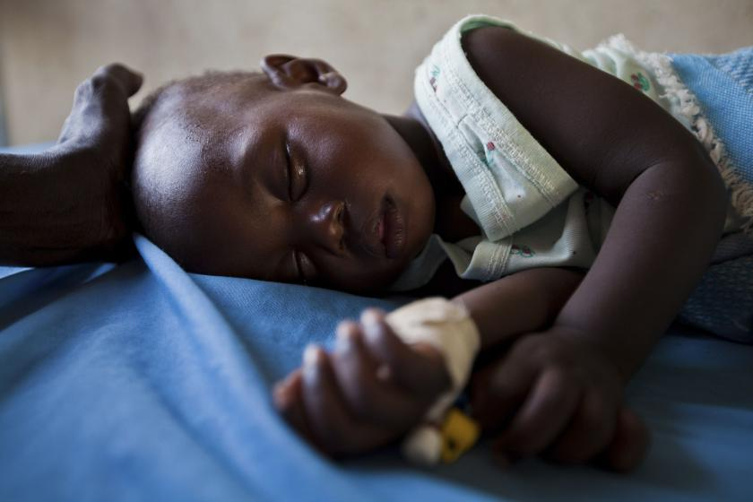 young girl with malaria, Sudan