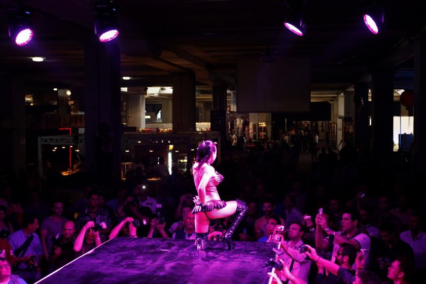 stripper performs during a show