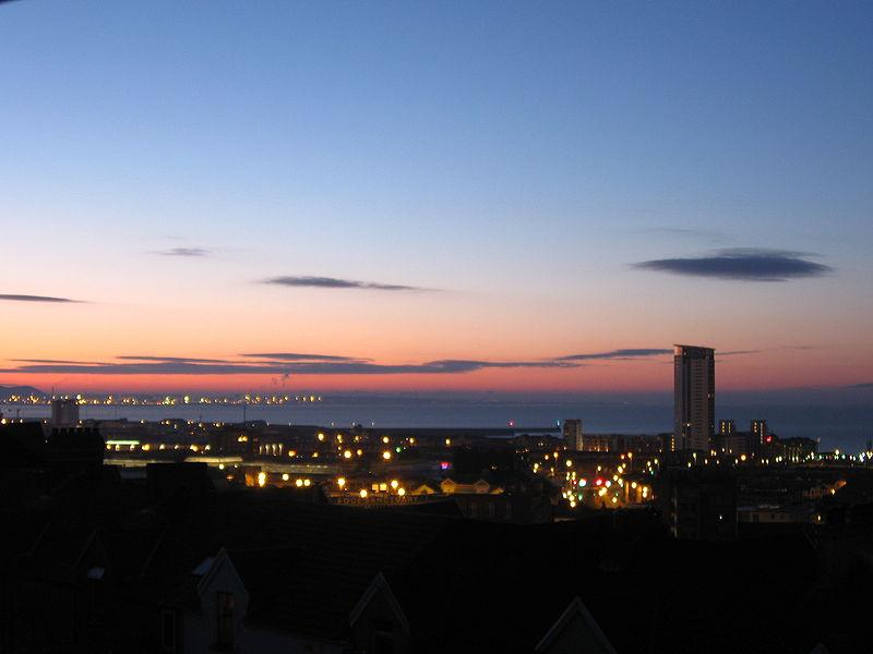 Skyline of Swansea, Wales, UK