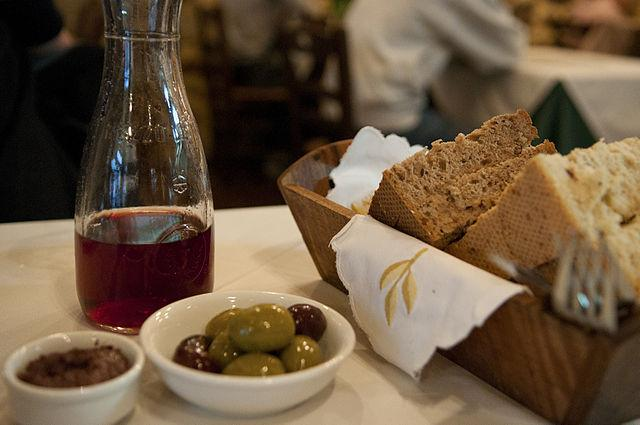 Mediterranean diet of olives whole-grains and wine