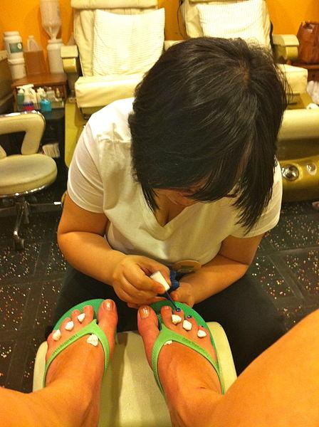 Pedicure at nail salon