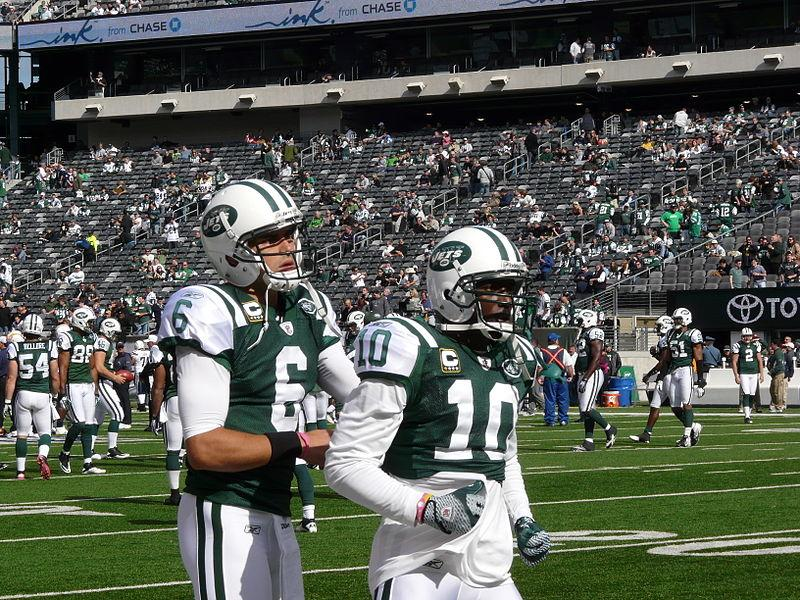 Mark_Sanchez and Santonio Holmes of the NY Jets