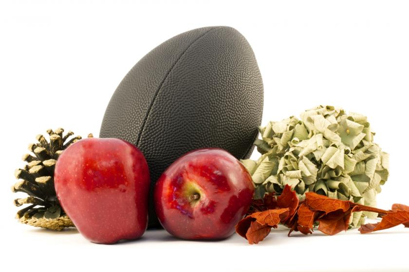 football and apples