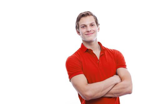 Handsome man wearing red polo shirt