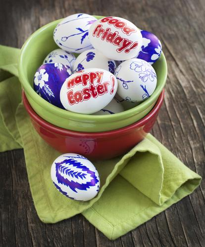 Decoration Easter eggs with words Happy Easter and Good Friday