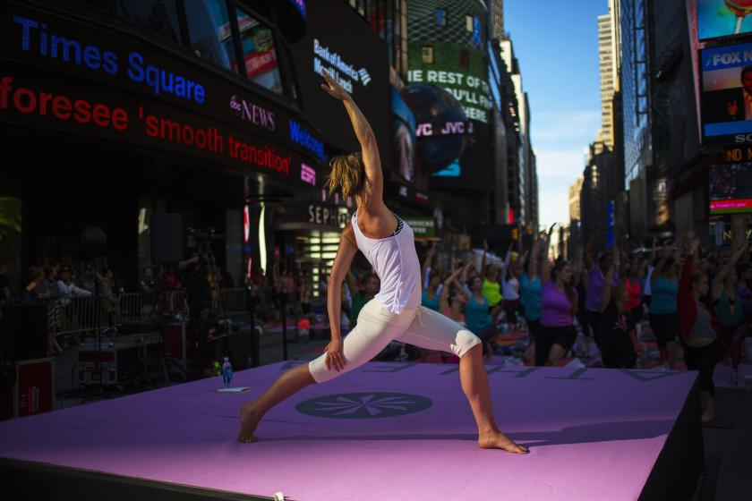 Thousands Strike A Pose At Yoga Event In Times Square