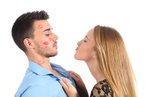 Woman trying to kiss man desperately