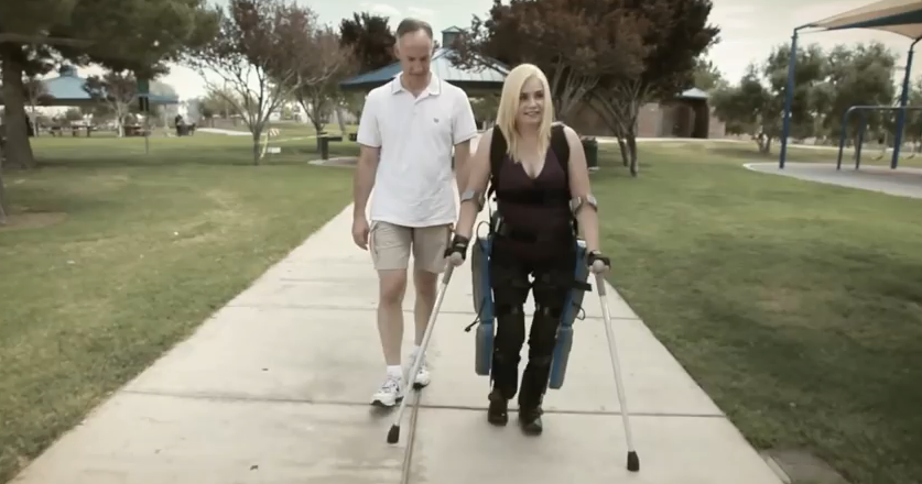 Paralyzed woman uses ReWalk to move