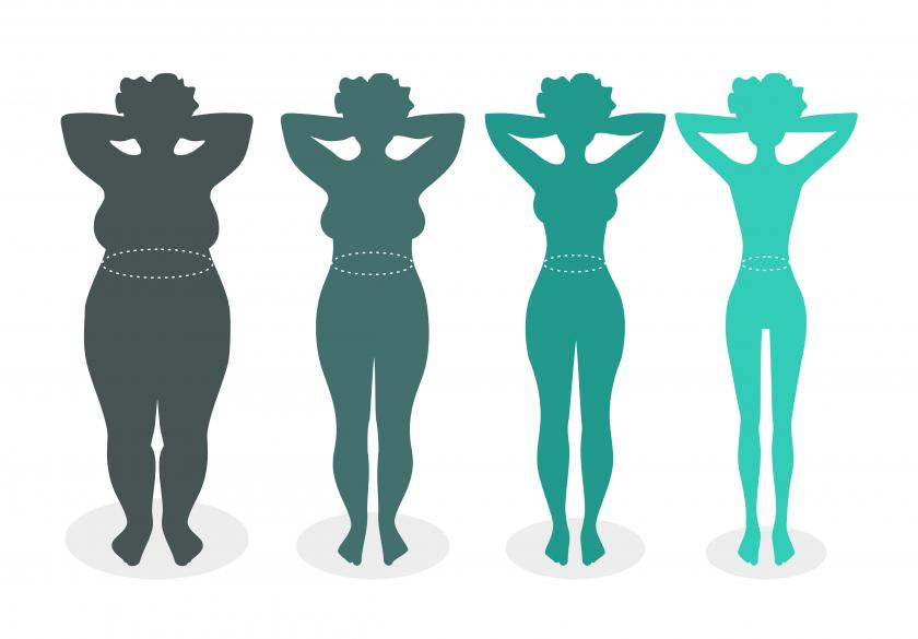 Ladies silhouettes with different body mass