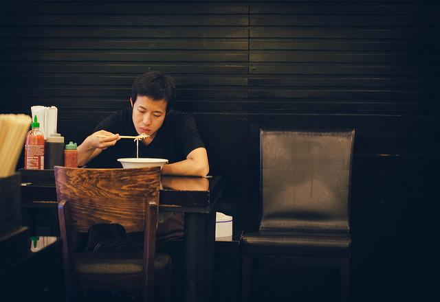 Man eating alone