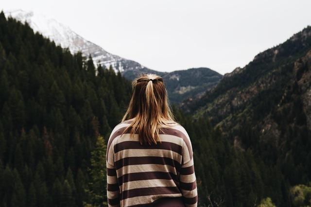 Woman looking at mountain
