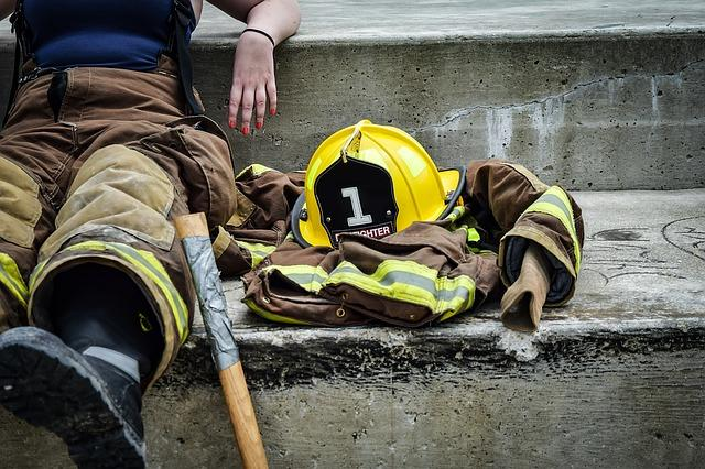 Firefighter sitting down