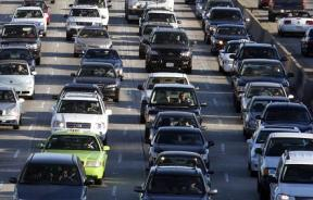 Vehicles are seen during rush hour on the 405 freeway in Los Angeles, California October 3, 2007.