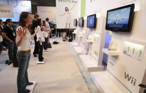 Visitors play Nintendo Wii Fit