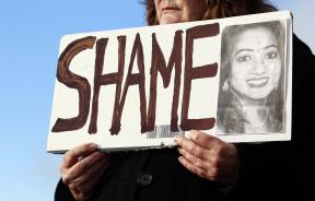 a picture of Savita Halappanavar in protest