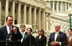 Representative Trent Franks defends abortion ban in front of U.S. capitol