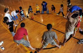Children playing organized games at the gym