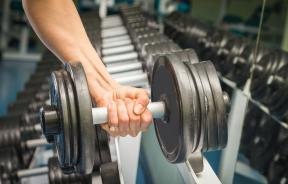 Arm with weights at the gym