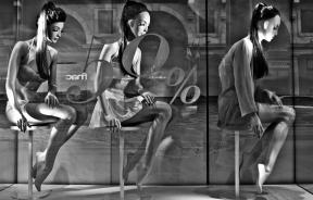 Mannequins in store front display