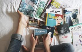 Books and magazines on bed